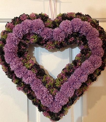 Yarn Wreath (Lilac Purple Green and Grey Heart Yarn Pom Pom Valentine Romance Wreath)