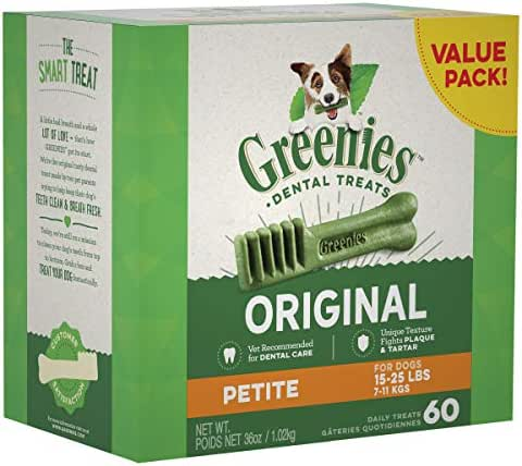 Greenies Original Petite Natural Dental Dog Treats, 36 Oz Pack (60 Treats)