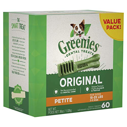 GREENIES Original Petite Natural Dental Dog Treats, 36 oz. Pack (60 - Bone Original Flavor Dog