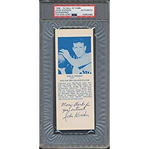 1968 74 Hof Bookmarks John Wooden PSA/DNA Certified Certified Certified Autographed *3985