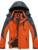 3. GEMYSE Men's Mountain Waterproof Ski Snow Jacket Winter Windproof Rain Jacket (Orange Grey,XL)