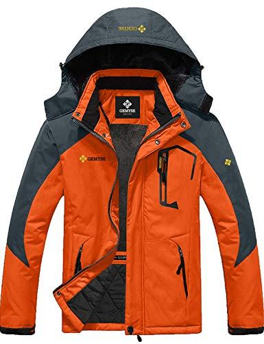 GEMYSE Men's Mountain Waterproof Ski Snow Jacket Winter Windproof Rain Jacket (Orange Grey,XL)