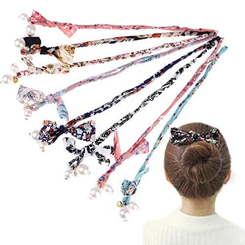 Xgood 8 Pieces Hair Styling Bow Pearl Fashion Hair Band French Twist Magic DIY Hair Tool Hair Bun Maker Floral Winding Hair Band Hairstyle Tools(8 Colors)