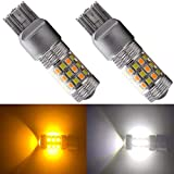 BlyilyB Bright 7443 7444NA 7440 7440NA 992 P21/5W Switchback LED Bulbs White/Amber with Projector for Turn Signal Lights and DRL Lamps