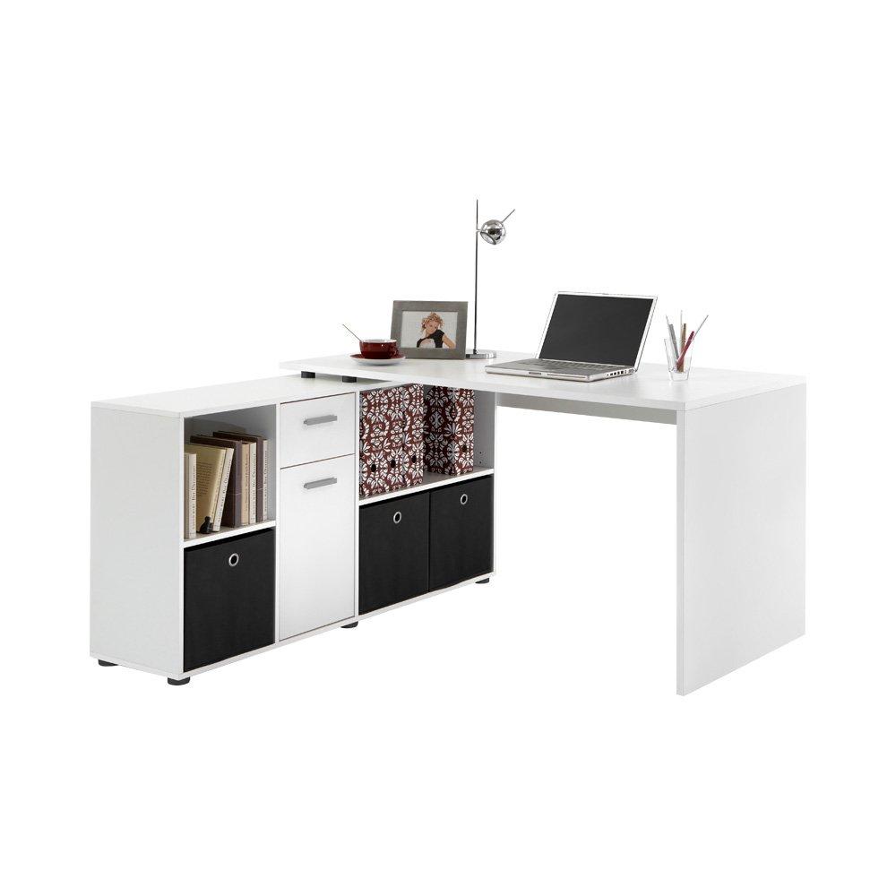 Sympathisch Schreibtisch Weiß Groß Foto Von Fmd Möbel 353-001 Schreibtisch-winkelkombination Tisch Ca. 136