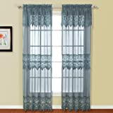 United Curtain Valerie Lace Sheer Window Curtain Panel, 52 by 63-Inch, Blue, Set of 2 Review