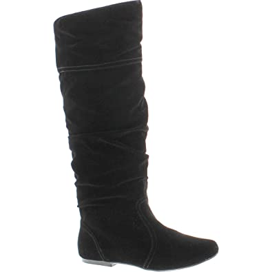 33a522931f7 Qupid Women s Neo144 Leatherette Basic Slouchy Knee High Flat Boot