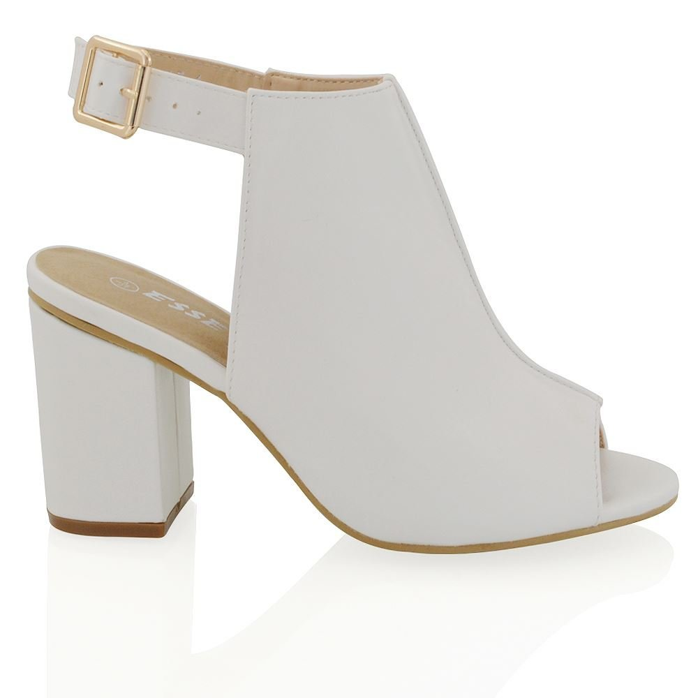 ESSEX GLAM Womens White Synthetic Leather Open Back Peeptoe Ankle Strap Shoe Boots 6 B(M) US