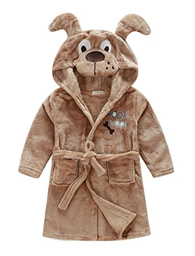 110 Cm Hood (Cute Hooded Animal Plush Bathrobe Warm Cartoon Terry Pajamas Sleepwear for Baby Girl Boy, Dog, 3-4 Years (42.9 inches /110cm))