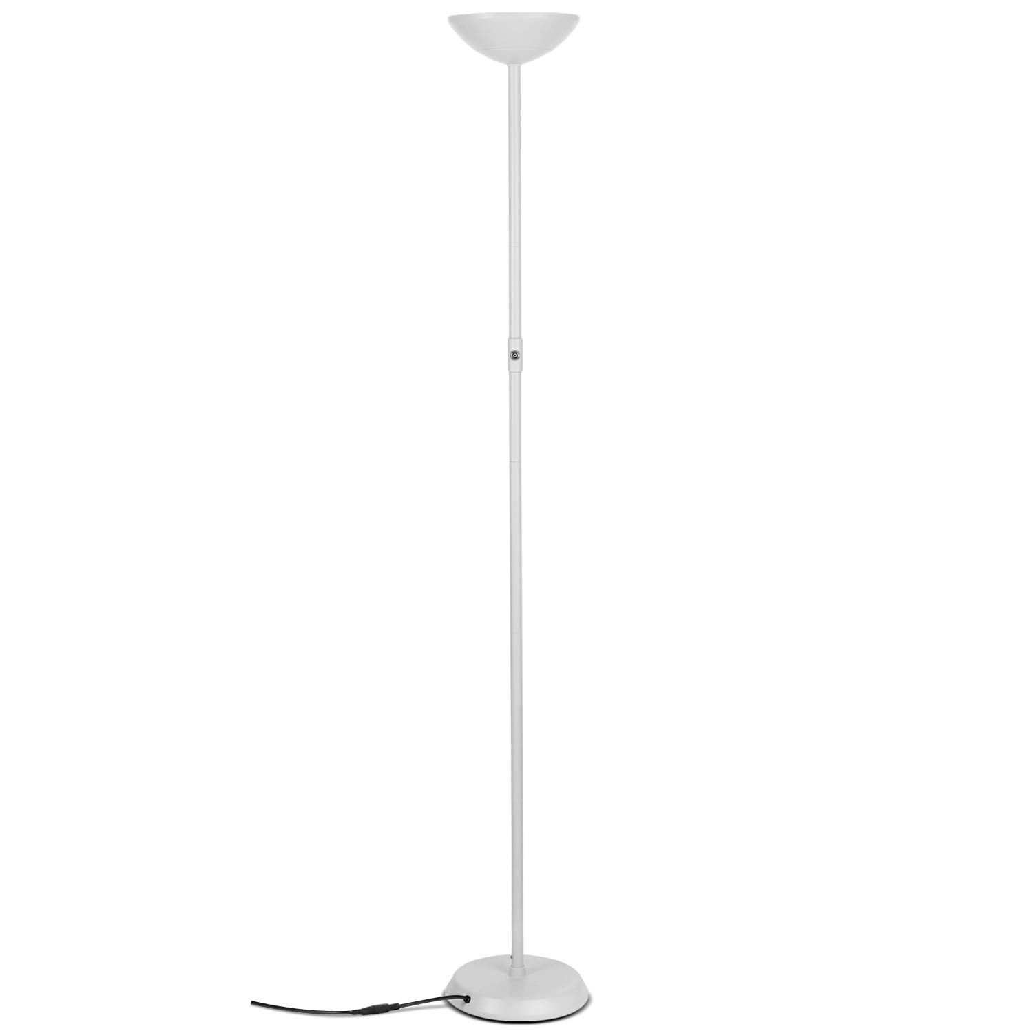 Brightech SkyLite - Bright LED Torchiere Floor Lamp for Offices – Modern, Dimmable Reading Light for Living Rooms & Bedrooms - Tall Standing Pole Light - White