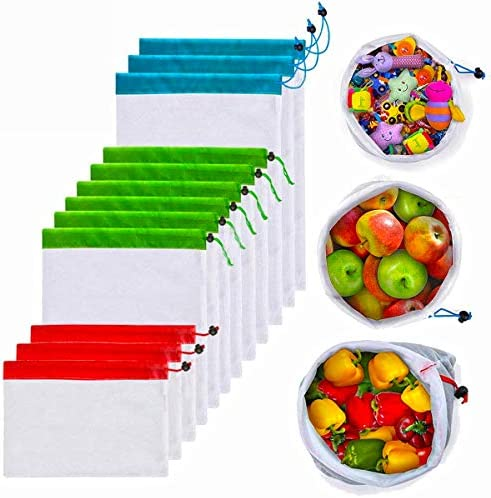 12Pcs Reusable Mesh Produce Bags, Washable Premium Through Lightweight Mesh Bags, Eco Friendly Toy Fruit Vegetable Produce Bags with Drawstrings for Home Shopping Grocery Storage – 3 Various Sizes