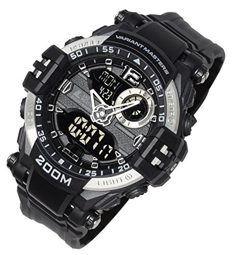 Lad Weather Analog - Digital Watch 660 ft Waterproof Stopwatch Timer Alarm World time Naval Camouflage Combat - Ladies Game Day Steel Watch