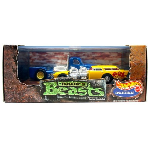 GO-MAD (Chevy Nomad) & TORQUED OFF (Custom Semi-Truck) * Limited Edition * Hot Wheels 1999 Baur's Beasts 1:64 Scale 2-Car Custom Vehicle Box ()