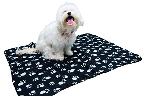 COZYPETS Paw Print Pet Blankets - Set of 4 Soft Light Weight Polar Fleece Throw Covers for Small Dogs Cats and Small Animals. Good to Throw Over Couch, Car Seat, Furniture, Bed. 4 Colors in a Set.