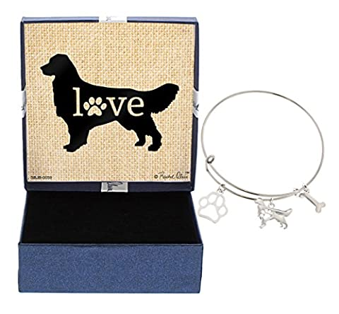 Mother's Day Gifts Golden Retriever Bracelet Gift Love Dog Breed Adjustable Bangle Charm Silver-Tone Bracelet Gift for Golden Retriever Owner Jewelry Box - Golden Retriever Wrapping Paper