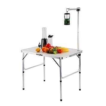 Finether Table Pliante Léger Portable Réglable Haute en Aluminium ...