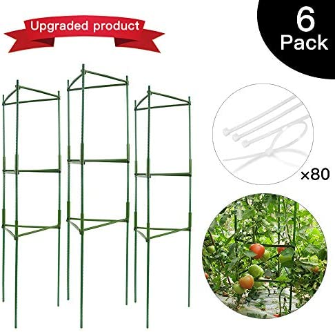 IPSXP Vegetable Trellis, Garden Plant Support Cages Stakes for Climbing Plants, Vegetables, Flowers, Fruits, Vine, 6 Garden Trellis with 80 Adjustable Cable Tie