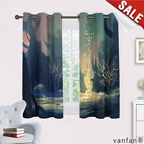 Big datastore Fantasy Art House Decor Curtains,Mysterious Tree Roots in Dark Scary Enchanted Forest by The Lake Print Room Darkening,Multi W55 x L45 -