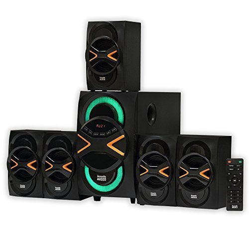 Acoustic Audio by Goldwood 5.1 Speaker System 5.1-Channel with LED lights and Bluetooth Home Theater Speaker System, Black (AA5210) (Led Light Home Theater)