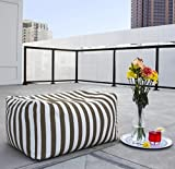 Patio Striped Ottoman Bean Bag, Striped Taupe