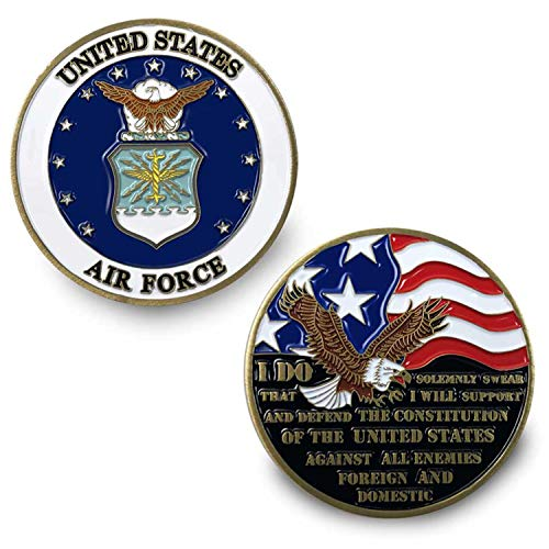 VetFriends.com US Air Force Challenge Coin with Eagle Emblem, American Flag, and Oath of Enlistment Graphics