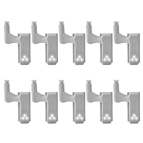 10 unidades de detector de movimiento de bisagra con luz nocturna LED de 0,25