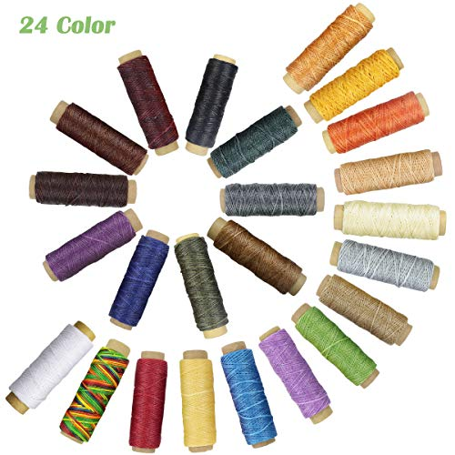 - 24 Colors Waxed Thread,Colorful Leather Thread, Leather Sewing Thread,Hand Stitching Thread for Hand Sewing Leather and Bookbinding