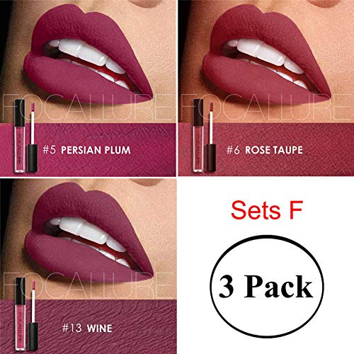 Focallure Matte Lipstick Womens Bulk Lipgloss Makeup Stay On Glossier Long Lasting Colorful Liquid Waterproof Lip Gloss 3 Set F
