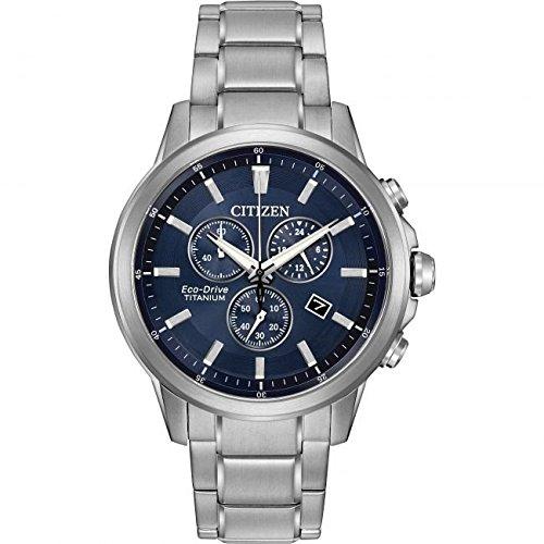 Citizen Reloj de Hombre Solar Powered Reloj de Titanio con Esfera analógica Azul Pantalla y Gris Titanio Pulsera at2340 - 56L: Amazon.es: Relojes