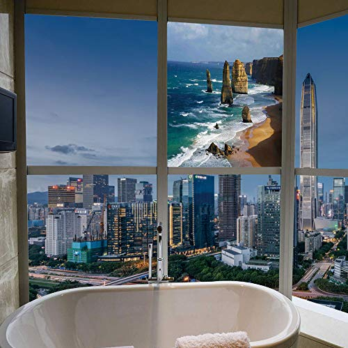 YOLIYANA Frosted Window Film Stained Glass Window Film,Coastal Decor,Work Well in The Bathroom,12 Apostles in Australia Rock Face Lookout by,17''x24''