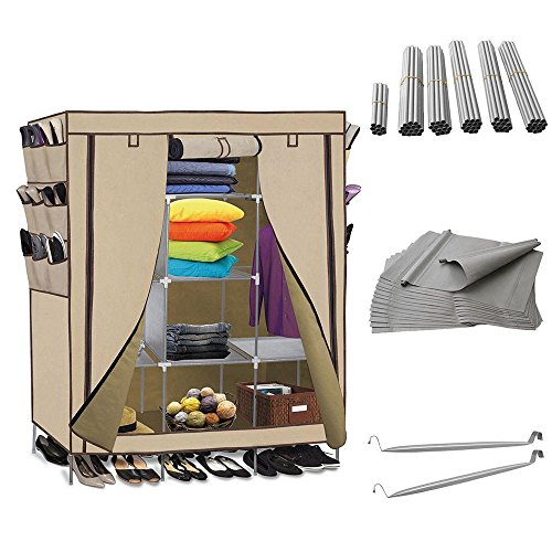 "Price comparison product image Lovinland 69"" Portable Closet Wardrobe Clothes Rack Storage Organizer Shelf with Side Shoe Racks Beige"