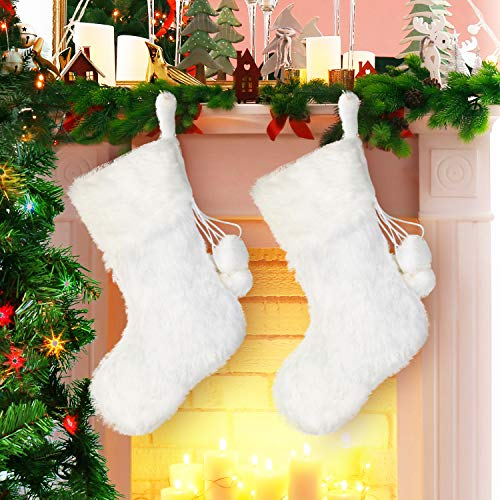 Boao 2 Pieces 20 Inch Christmas Stockings Snowy White Faux Fur Christmas Stocking for Holiday Party Christmas Fireplace Decorations (White Faux Fur Stocking) Blue White Plush Stocking