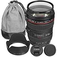 Canon EF 24-105mm f/4L IS USM Lens with Accessory Bundle for Canon EOS 70D, 80D, 77D, 7D Mark II, 5DS, 5DS R, 6D, 5D Mark III, 5D Mark IV, EOS Rebel T6i, T6s, T7i - International Version