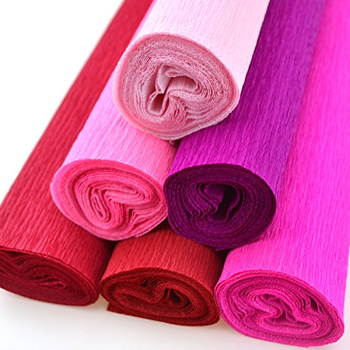 Star Packing Best Crepe Paper Roll 20 inches wide x 8ft long | 42 colors available 13.5 Square Feet pack (6 Rolls, Shades of Red and Pink) -