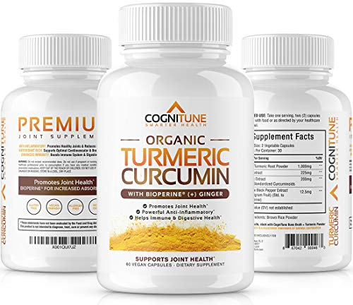 Organic Turmeric Curcumin Supplement with BioPerine Black Pepper Extract & Ginger - Premium Natural 95% Curcuminoids - Extra Strength Anti-Inflammation, Joint Support & Pain Relief Pills - 60 Capsules