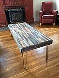 "reclaimed wood desk Barn wood Coffee Table - 40""x20""- Industrial Furniture - Modern Reclaimed Barn Wood/Rustic Wood in a beautiful mosaic pattern with Hairpin Legs"
