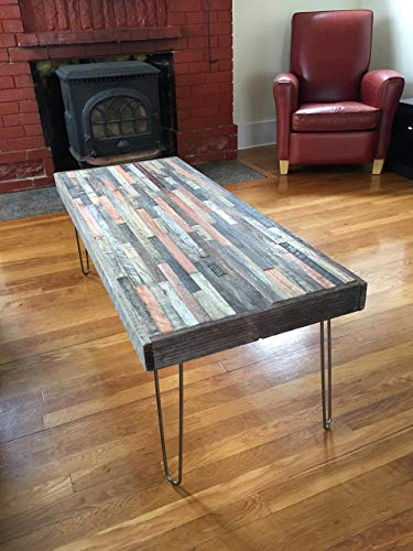 Barn wood Coffee Table – 40 x20 – Industrial Furniture – Modern Reclaimed Barn Wood Rustic Wood in a beautiful mosaic pattern with Hairpin Legs