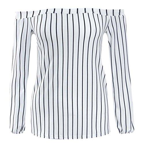 Hiver Chic Shirts Femme Blanc Rayure Tops Automne Manches Longues T T Shirts Chemise Femme paules Femme Blouse T Pull Sexy Shirts MVPKK Sexy lgant T Femme Lache Femme Shirts Nues wft0q