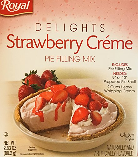 Royal Delights Dessert/Pie Filling Mix! Choose From 2 Flavors! Salted Caramel or Strawberry Creme! Just Mix, Chill & Enjoy! 1 Box! (Strawberry Creme Pie Filling Mix, 2.83oz)