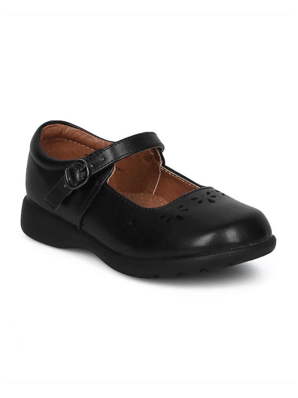 Alrisco Girls Leatherette Round Toe Mary Jane Uniform Shoe HD41 - Black Leatherette (Size: Toddler 10)