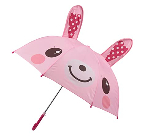 Winthome Paraguas Infantil Dibujos Animados para Niños, Paraguas con oreja de 3D (conejo)