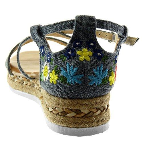 con 3 Cinturino Scarpe Piattaforma Cinghie Caviglia Moda cm Incrociate alla Tacco 5 Espadrillas Sandali Donna Angkorly Ricamo Blu Zeppe Fiori Zeppa YATXqxwxd