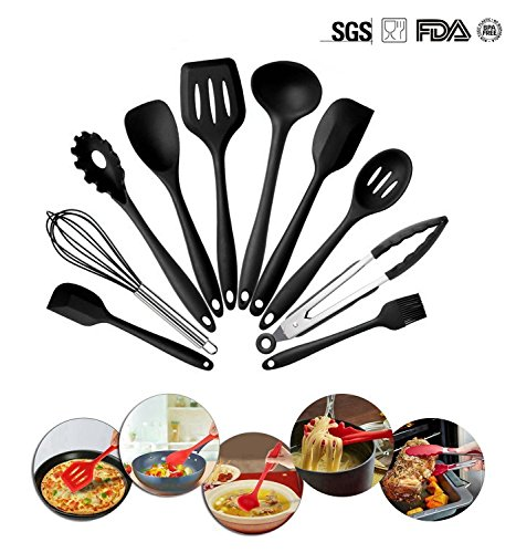 10 Piece Silicone Kitchen Utensils Set,Home Baking Cooking Tools Cookware Gadgets Contains Pasta Fork,Spoonula,Tong,Slotted Spoon,Ladle,Turner,Large Spatula,Small Spatula,Basting Brush,Whisk (Black)