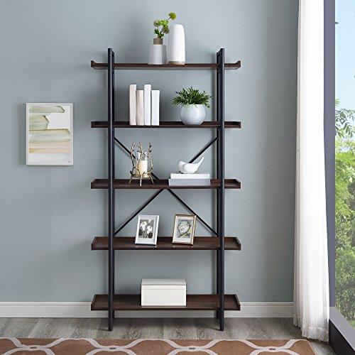 "WE Furniture AZS68UPDW Mixed Material Bookshelf, 68"", Dark Walnut"