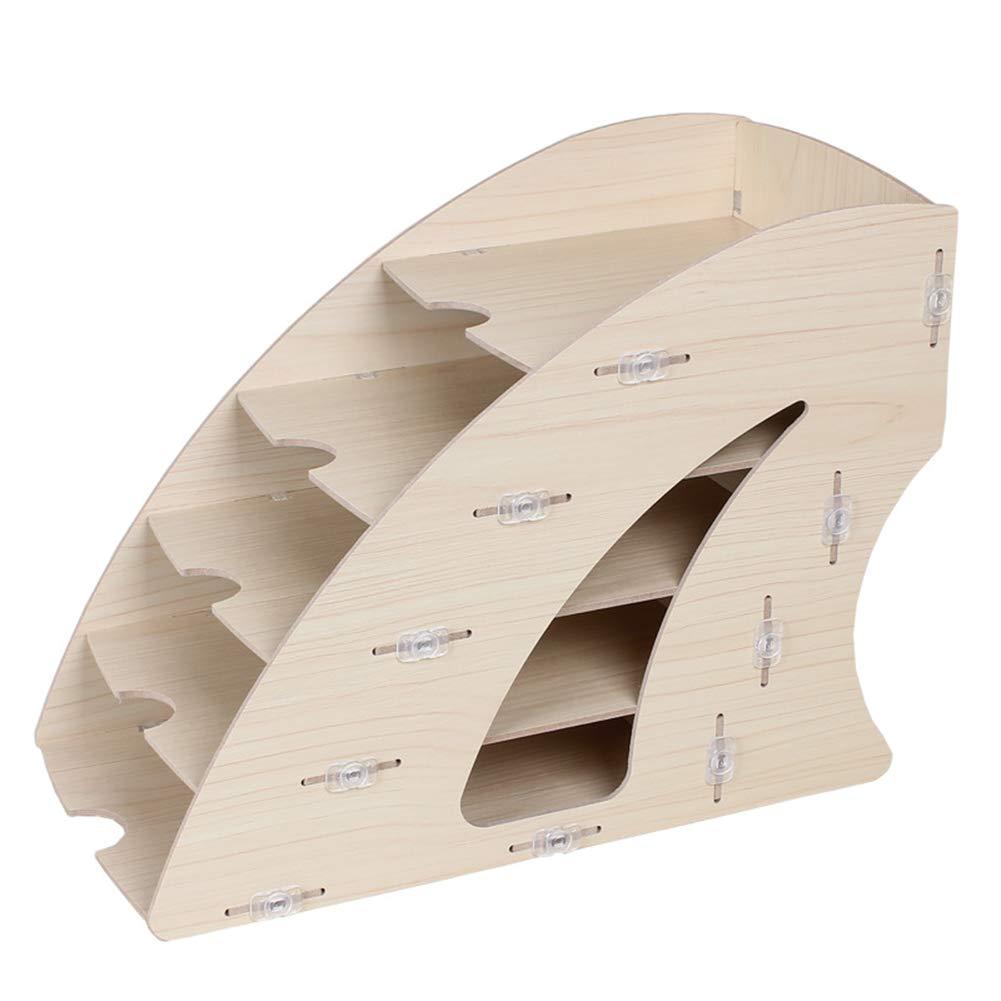 Vassoio per Lettere Sistema di archiviazione per scrivania Contenitore per Documenti con 5 Ripiani variabili Vassoio per Lettere e Documenti Naturale,Marrone WWJYY Portariviste in Legno