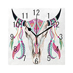MTDKX Square Wall Clock Battery Operated Quartz Analog Quiet Desk 8 Inch Clock, Bull Skull Image with Tribal Ornate and Colorful Feathers on Plain Backdrop