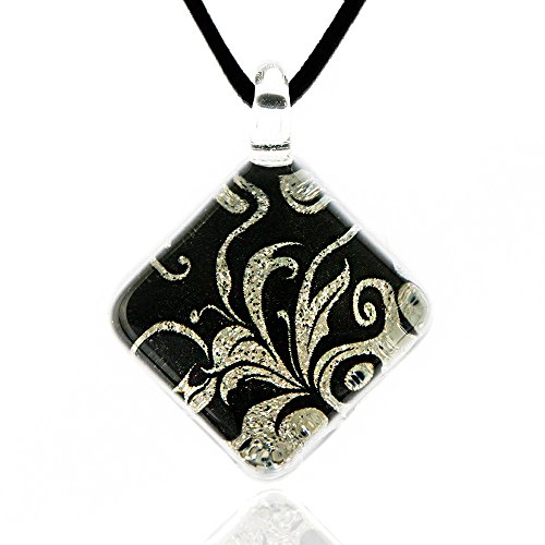 Chuvora Hand Blown Venetian Murano Glass Abstract Black Leaf Vine Square Pendant Necklace, 17-19 inches