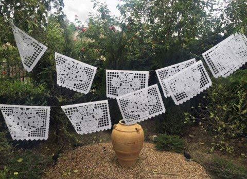 MesaChic Mexican Papel PICADO Banner Large All White Bunting 20' feet Long with 10 Flags