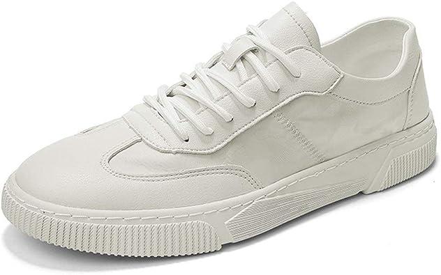 Zapatillas para Hombre Antideslizante Flat Lace Up Vegan zapatillas de deporte del dedo del pie redondo para los hombres de cuero de microfibra exterior Correr Moda Casual Sport Shoes Transpirable ant: Amazon.es: