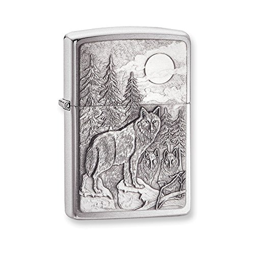 (Zippo Timberwolves Emblem Brushed Chrome Lighter )
